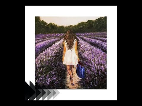 Acrylic Painting Girl in a Lavender Field SPEED PAINTING
