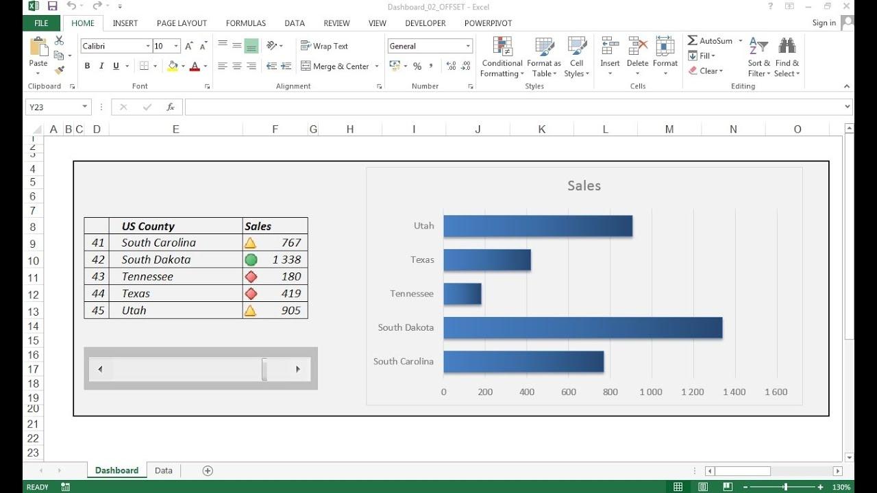 creating excel dashboard using scroll bar excel