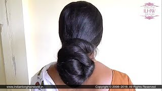 Deepa's Sensual Huge Braided Bun Making Over Neck With Calf Length ThickLoose Braid