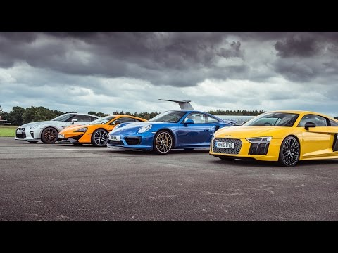 McLaren 570S vs Porsche 911 Turbo S vs Audi R8 vs Nissan GT-R - Top Gear: Drag Races