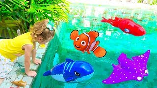 Learn Colors With Wild Animals in Blue Pool Water Shark Toys For Kids
