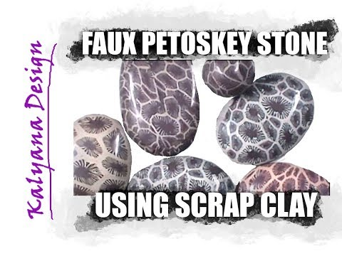 192 Polymer clay tutorial - faux Petoskey stone using scrap clay