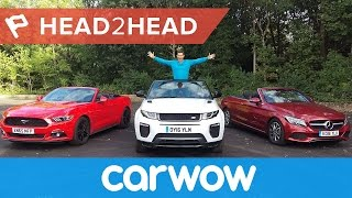 Range Rover Evoque Convertible vs Mercedes C-Class Cabriolet vs Ford Mustang Convertible | Head2Head