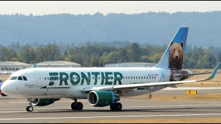 *First on YouTube!* Frontier Airlines Airbus A320-214 New Livery [N227FR] landing and takeoff at PDX
