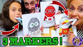 3 MARKERS CHALLENGE -  Drawing challenge mit 3 Farben - Family Fun