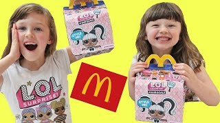 Isla & Olivia Pretend Play with DIY LOL dolls Surprise Mcdonalds Happy Meal Toy