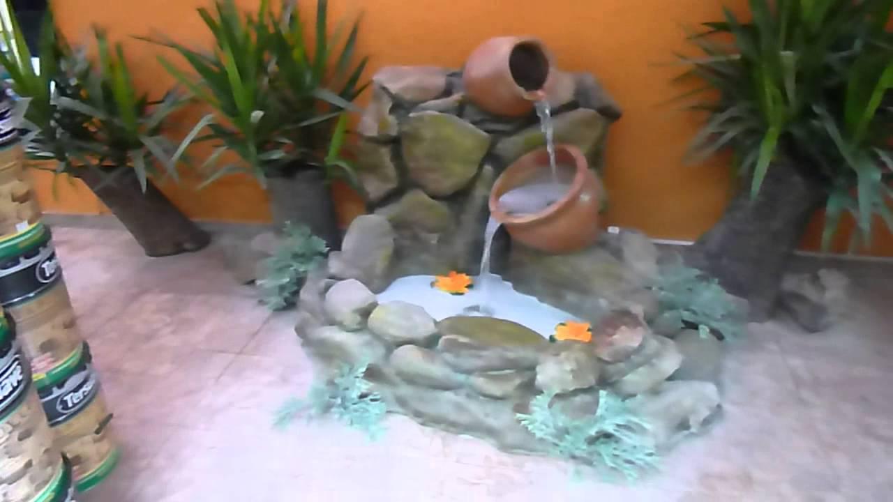 Cascada con jarras de rocas artificiales youtube for Cascadas artificiales para jardin