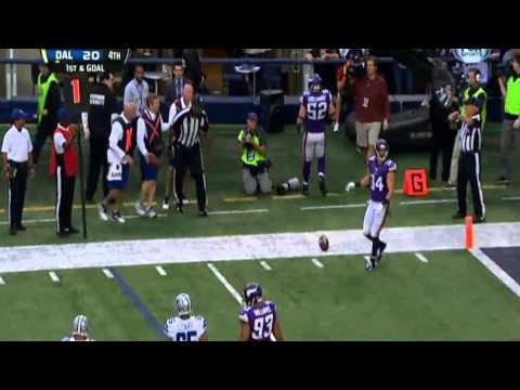 Dallas Cowboys quarterback Tony Romo hits the referee Vs Minnesota Vikings 03.11.2013