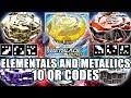 10 QR CODES: ORPHEUS, ELEMENTALS & METALLICS VOL.1 - BEYBLADE BURST APP QR CODES