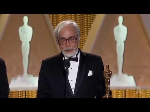 Hayao Miyazaki receives an Honorary Award at the 2014 Governors Awards