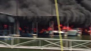 Fire And Explosions At Lake Texoma Marina
