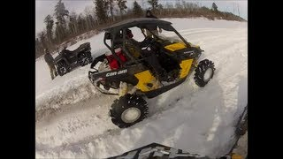 "2013 Can-Am Maverick 31"" Outlaws Sneak peek snow ride"