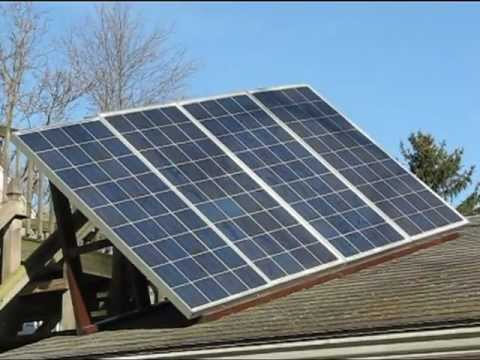 Grid -Tied My 4 Solar panels array  Video Grid Tie on Garage for You tube