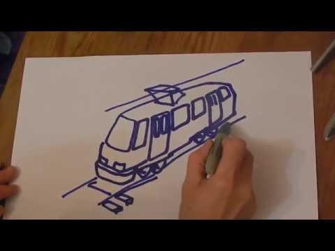 Видео как нарисовать трамвай