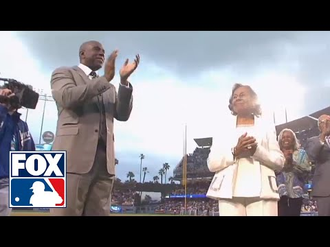 See how Harrison Ford did on his first pitch at Dodger Stadium Monday Night. Ford was on hand to help celebrate Jackie Robinson day in Los Angeles. SUBSCRIBE...