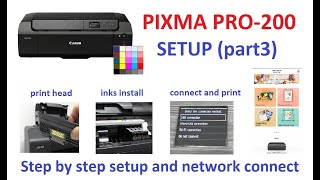 PIXMA PRO-200 Setup (part3) Print Head and Inks, Wireless Connect, Canon PRINT Inkjet Selphy App