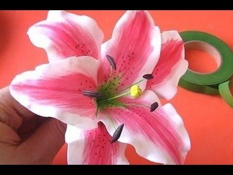 Лилия (цветы) из фоамирана Легко! Мастер класс Часть 2 Lily foam easy! Master Class Part 2