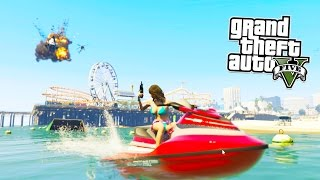 GTA 5 BEACH RAMPAGE!!! GTA 5 PC Online 5 Star DESTRUCTION and POLICE Getaway! (GTA 5 PC Gameplay)