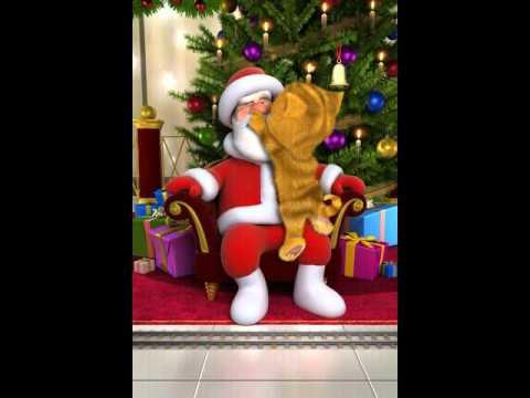 Talking Santa meets Ginger Санта Клаус  у говорящего кота Рыжика