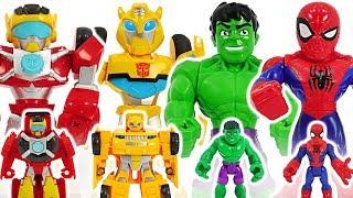 Marvel Avengers Hulk, Spider-Man, Transformers Rescue Bots Bumblebee! Defeat dinosaur! #DuDuPopTOY