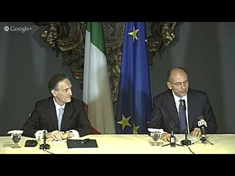 Italy's Prime Minister Enrico Letta in Washington DC: press conference at the Italian Embassy
