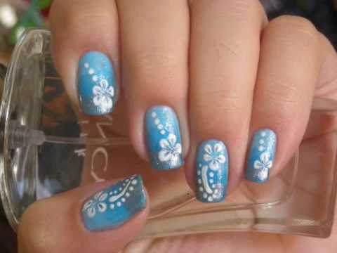 Nail Design Tutorial: Blue Hawaiian Nails - YouTube