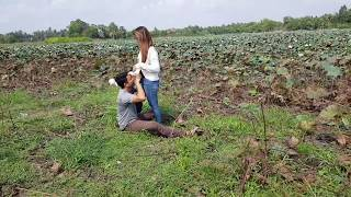 Beautiful Girl & Boy Doing Sweetest In Lotus Farm, Lovely View IN Morning