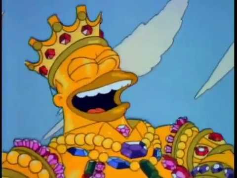 Homero gigante y cubierto de oro - Los Simpson