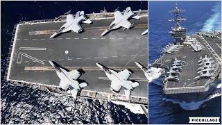 Porte-Avions US : en pleine mer, à pleine vitesse (visuellement  impressionnant) . HD1080p