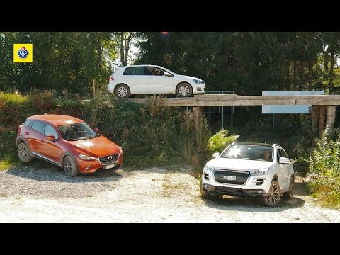 Test voitures intégrales: Mazda CX-3, Peugeot 4008 et VW Golf 4Motion