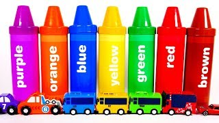 Learn Colors with Big Crayons and Vehicles for Kids