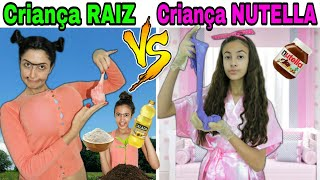 CRIANÇA RAIZ VS CRIANÇA NUTELLA FAZENDO SLIME