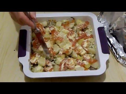 Картофель с куриными желудками в духовке