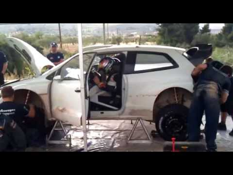 RALLY ACROPOLIS 2013 J.M.LATVALA TEST VW POLO WRC TEST SERVICE 2