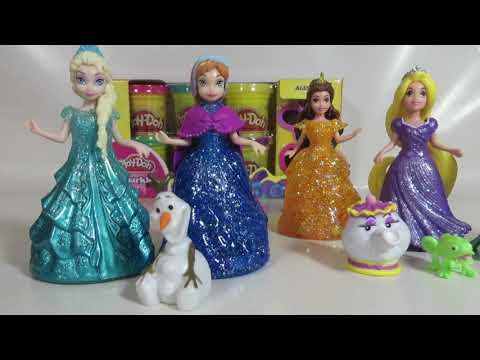NEW Disney MagicClip Glitter Glider Frozen Elsa Anna Sparkle Princess Ariel Rapunzel Dolls