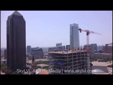 Dallas Arts District - Hall Arts Center Construction Aerial Video