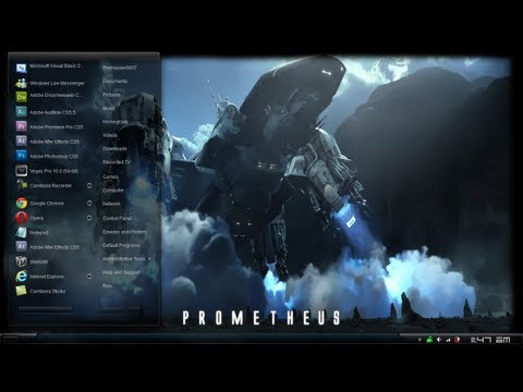 Prometheus Theme Review Windows 7