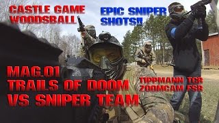 Paintball Sniper vs Assassin Trails of Doom Magfed MAG-01 Woodsball FSR