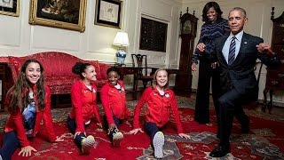 President Obama Attempts Splits with Simone Biles and Aly Raisman