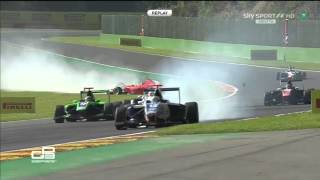 GP3 2015. Spa-Francorchamp.  Aleksander Bosak and Matt Parry Crash