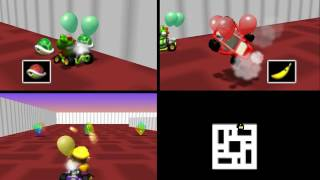 Mario Kart 64: Double Deck 3 player Netplay battle 60fps
