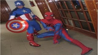 Spiderman Hulk American Captain and Iron Kid in Real Life having Fun with Kids