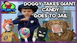 Doggy takes Giant CANDY goes to JAIL pretend skit with Nick and Lego Batman - Puky Toys&Fun
