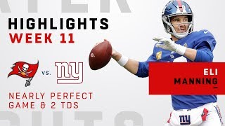 Eli Manning Tosses 2 TDs & Goes Near Perfect w/ 17 Completions on 18 Attempts!