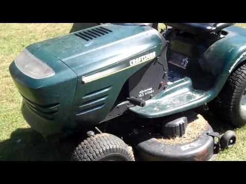 What a blown engine sounds like.  Craftsman V twin engine riding lawn mower.
