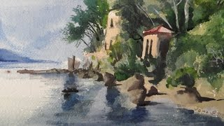 Villa on the Beach, Painting a Watercolour