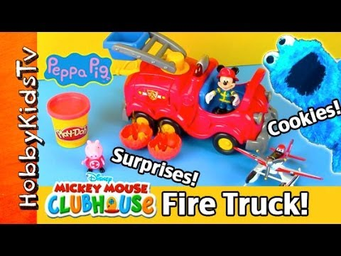 Peppa Pig's Cooking Class Catches FIRE + Surprise Treats! Mickey Mouse and Dusty Helps! HobbyKidsTV