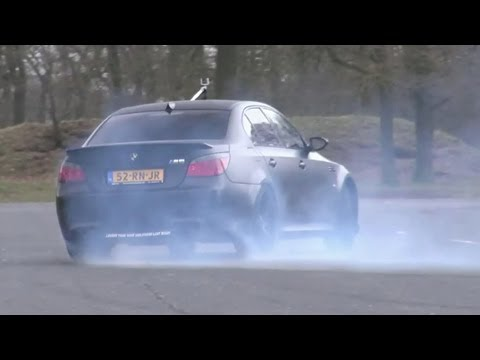 LOUD BMW E60 M5 V10 w/ Aftermarket Race Exhaust! - Burning some rubber!