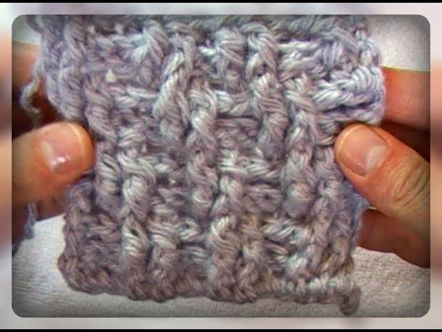 Диагональная резинка рельефными столбиками, вязание крючком