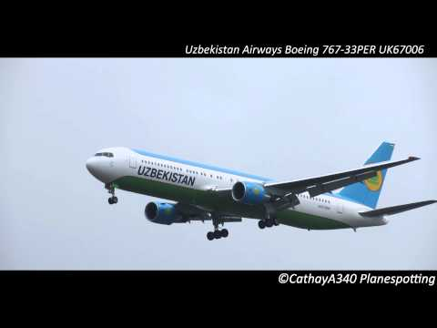 Uzbekistan Airways Boeing 767-300 Arriving at John F. Kennedy International Airport [FULL HD]